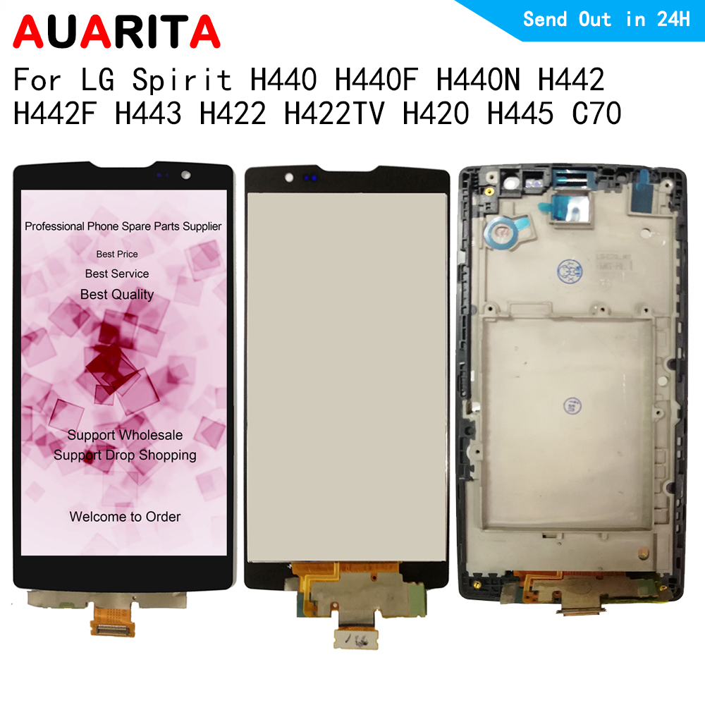 For LG Spirit H440F H440N H442 H442F H443 H422 H422TV H420 H445 C70 Lcd Display Touch panel Screen with frame digitizer assemblyFor LG Spirit H440F H440N H442 H442F H443 H422 H422TV H420 H445 C70 Lcd Display Touch panel Screen with frame digitizer assembly