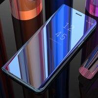 XinWen я Роскошные 3D зеркало clear view etui футляр, складной чехол для samsung Galaxy a5 a6 a8 плюс 2018 a530 a830 телефон флип Смарт синий
