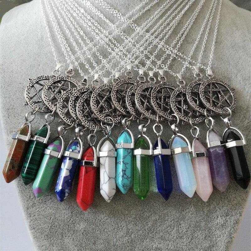 Vintage srebrni heksagram kristalni privjesak ogrlica šarm kameni - Modni nakit - Foto 2