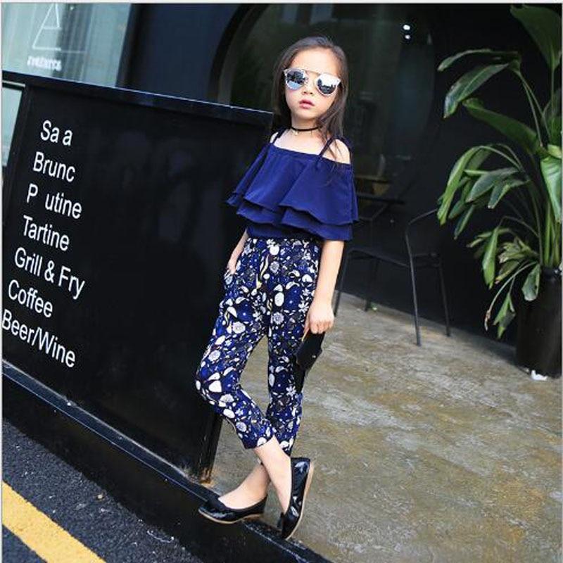 Dječja odjeća djevojke setovi ljeto Sling košulja + gležanj - - Dječja odjeća - Foto 5