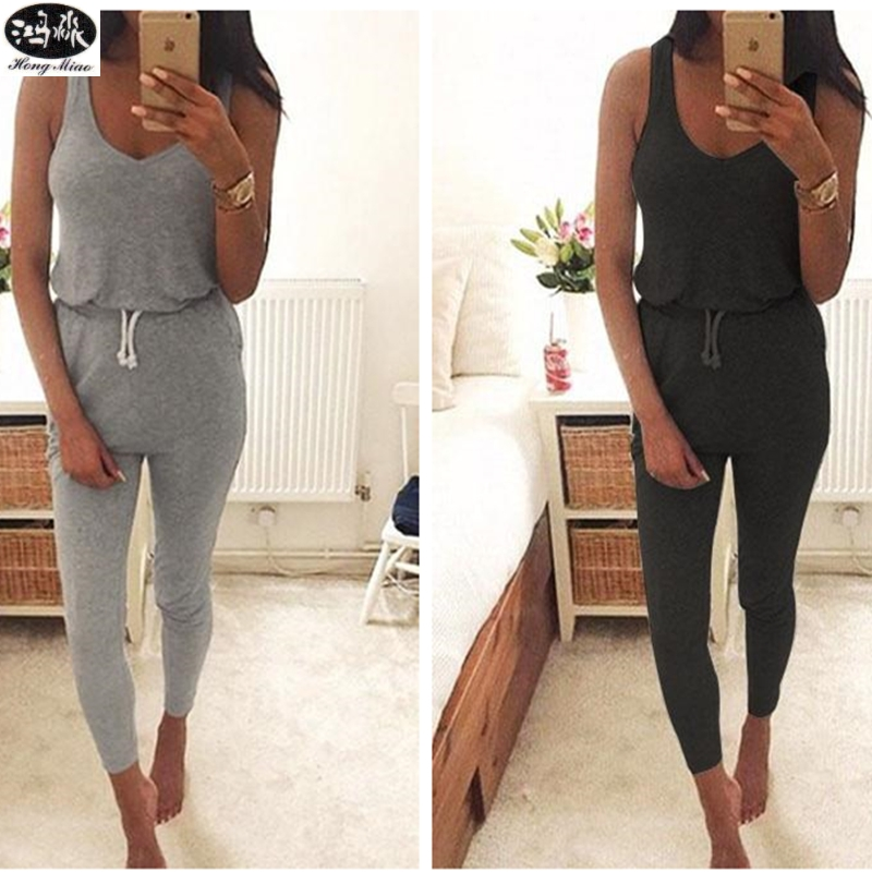 HongMiao 2018 New Fashion Summer Low Cut Jumpsuit Black Elastic Waist Sleeveless Long Pants Playsuit Strap Pocket Overalls Q
