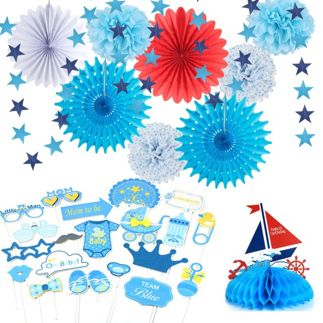 Its A Boy Baby Shower First Birthday Party Decorations Set Photo Props Sailboat Centerpiece Paper Fans Star Garland