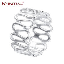 Kinitial Silver Plate Twist Wave Ring Wide Adjustable CZ Ring For Women Jewelry Geometric Infinity Rings Gift Bague Anillo(China)