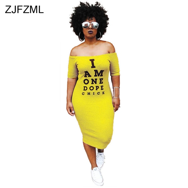 318f27f025593 ZJFZML Offf Shoulder Sexy T Shirt Dress Women Letter Print Slash Neck  Bandage Dress Summer Short Sleeve Backless Mid-Calf Dress