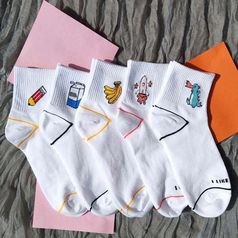 Fashion Women's Kawaii Milk Banana Dinosaur Pencil Rocket Cartoon Socks meias Novelty Illustration Letter White Cute Cotton Sock