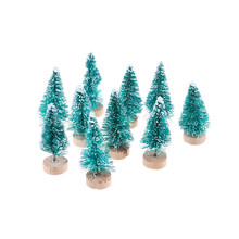 10Pcs Creative Christmas Trees Small Pine Tree Mini Trees Placed In The Desktop DIY Home Christmas Decorations Kids Gift