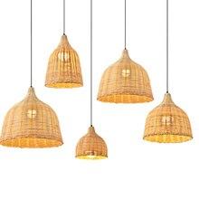 Бамбуковый Лофт Led подвесные светильники японский ручной работы из ротанга подвесной светильник Чайный дом Юго-Восточной Азии винтажный подвесной светильник