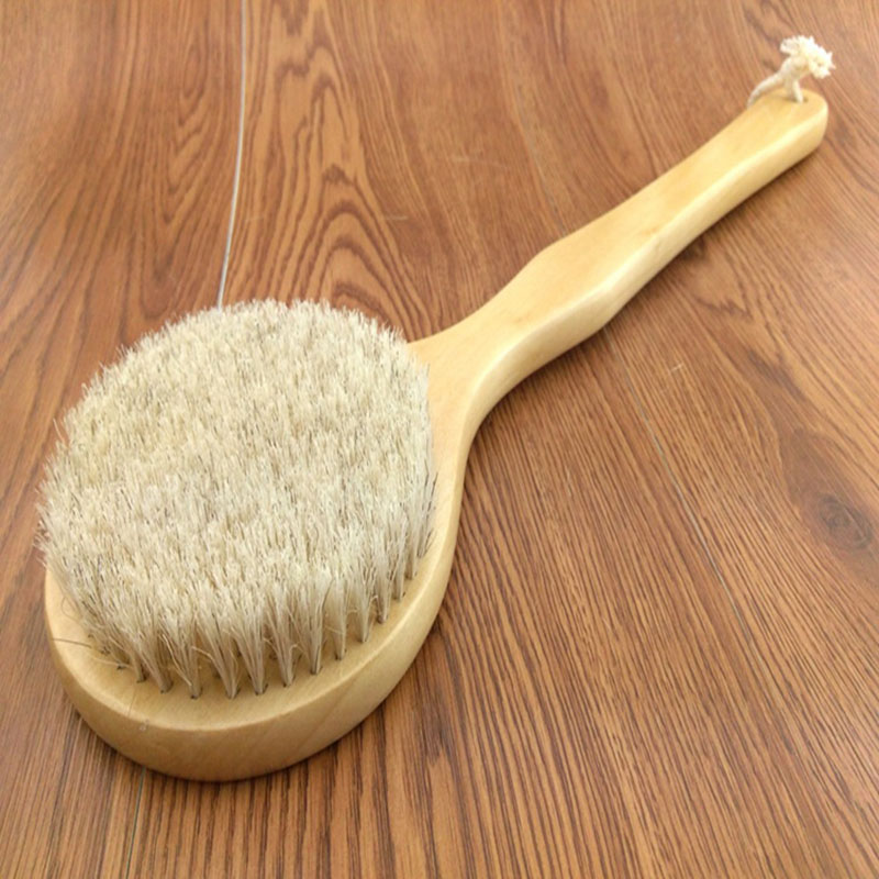 New Natural Bristle Long Horse Hair Handle Wooden Wood Bath Shower Body Back Brush Spa Scrubber H7JP 250g bow horse hair natural mongolian horse tail bow parts 75 79cm