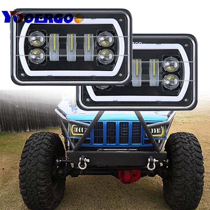 YOOERGOO 4x6 Square White/Yellow Halo LED Headlight Reflector Sealed Beam Replacement With DRL for Jeep Trucks 4X4 Offroad 2Pcs