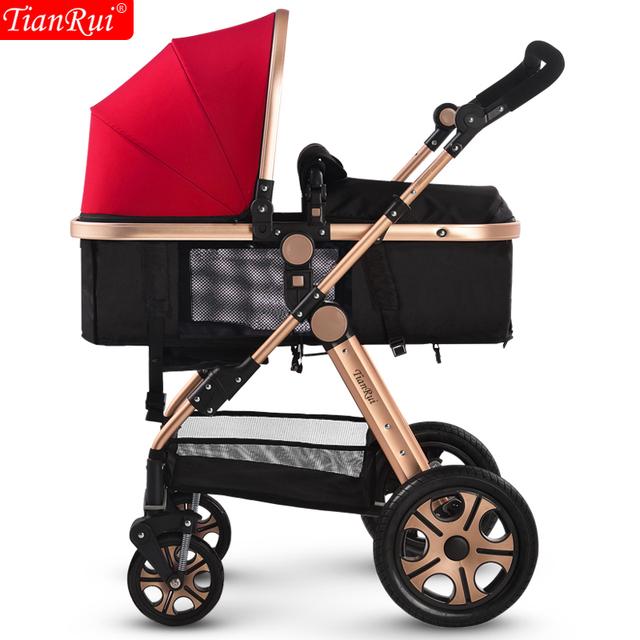 Tianrui carrinho de bebê 3 em 1 classic 8 brindes dobrável Buggy Pushchair Pram Carriage Newborn Infant Car 4 rodas carrinho trolley
