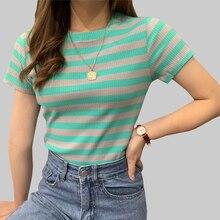 shintimes Striped Tshirt Women 2019 Short Sleeve Knitted Elasticity Cotton T Shirt Summer Casual T-Shirt Female Tee Femme