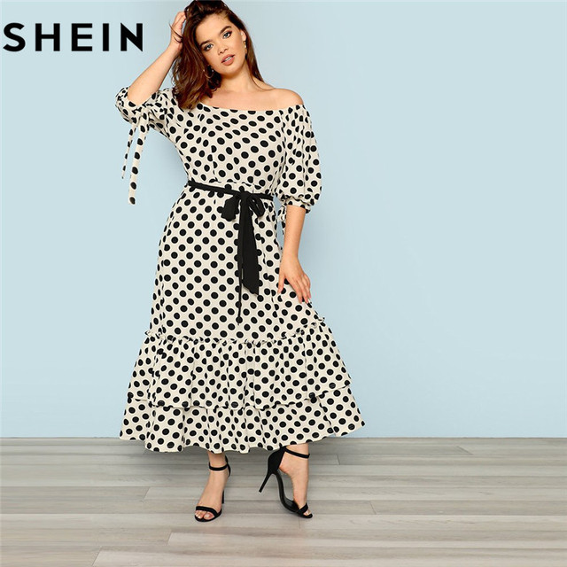 ebe393d0daa1c SHEIN Polka Dot Off The Shoulder Puff Sleeve Womens Plus Size Maxi Dress  2018 Elegant High Waist Belted Ruffle Hem Long Dresses