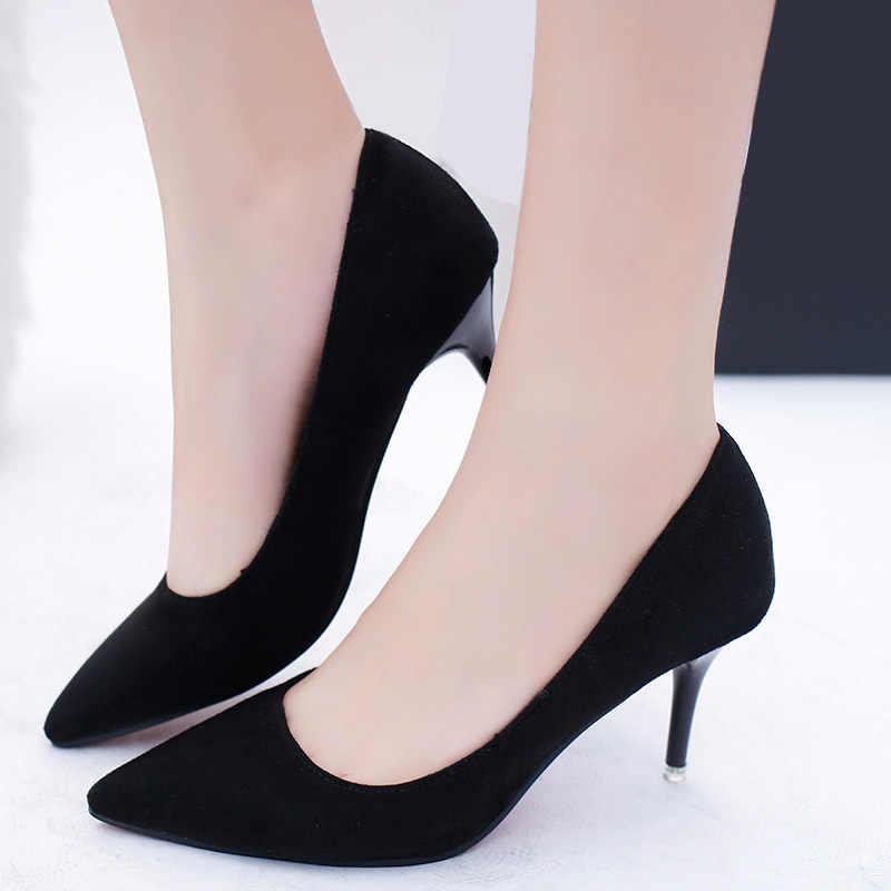 Plus Kích Thước OL Nữ Công Sở Giày Giả Da Lộn Giày Cao Gót Người Phụ Nữ Giày Mũi Nhọn Đầm Giày Cơ Bản Bơm Nữ Thuyền zapatos Mujer