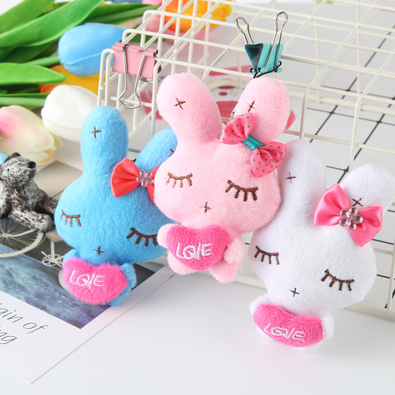 10cm Lovely Mini Rabbit Plush Keychain Bag Mobile Phone Accessories Kawaii Rabbit Plush Toys Doll Soft PP Cotton For Girls Gift