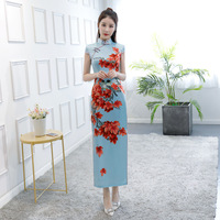 Female SEXY Chinese Classic Rayon Dresses Light Blue Mandarin Collar Qipao Print Elegant Summer Cheongsam Vestidos Plus Size 3XL