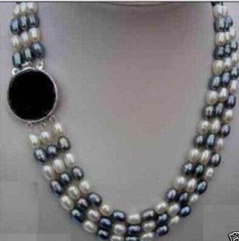 Bijoux 3 Rangées Ovale Blanc/Noir Perle Collier