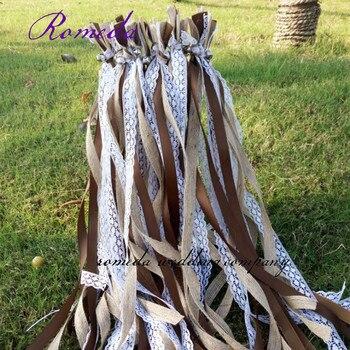 50pcs/lot Burlap jute wedding ribbon wands stick with big sliver Bells for wedding party