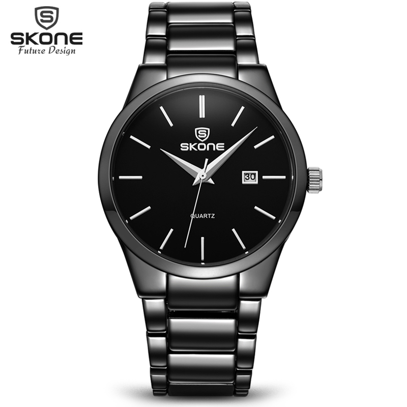 SKONE 2017 Top Brand Business Men Male Luxury Watch Casual Full steel Calendar Wristwatches quartz watches relogio masculino skone relogio 9385
