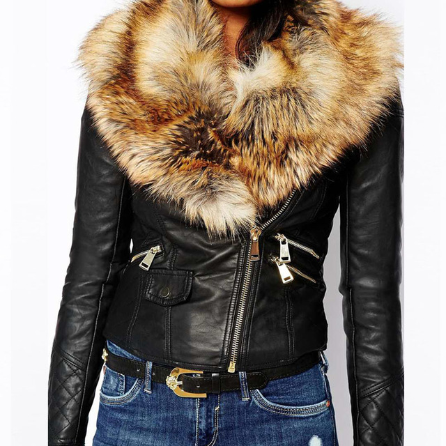 246164e93b4 Faroonee PU Leather Jacket with Faux Fox Fur Collar Women Autumn Coat  Female Slim Short Outerwear Overcoat Plus Size 3X Q1660 -in Basic Jackets  from Women s ...