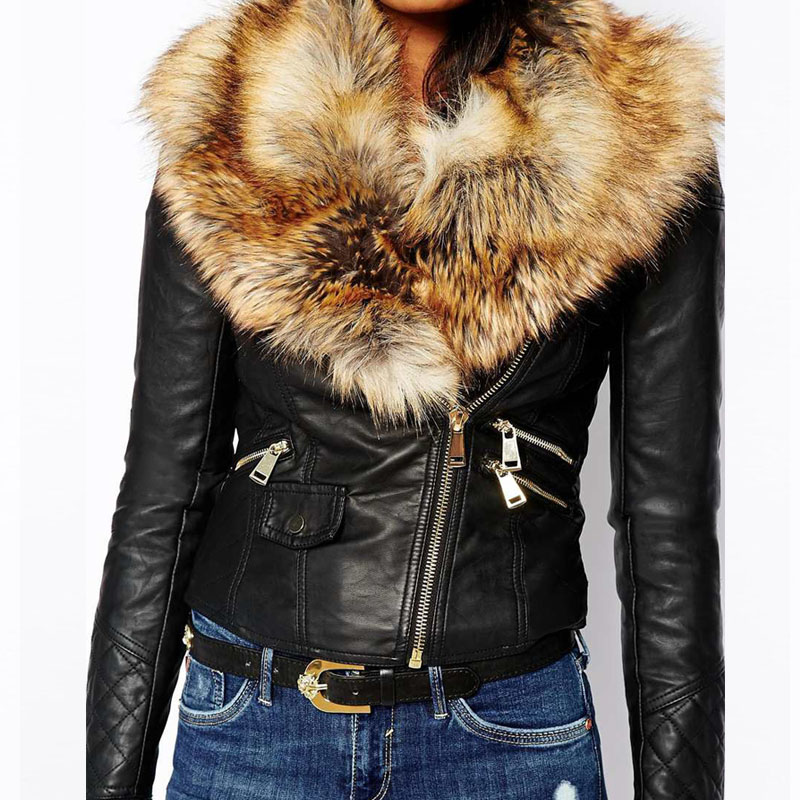 Hot Pu Leather Jacket Coat With Faux Fox Fur Collar Women