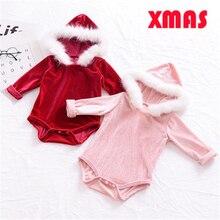 0-24M Christmas Baby Girl Velvet Romper Infant Baby Girl Fleece Hooded Romper 2017 New Bebes Jumpsuit Xmas Body Suit For Newborn