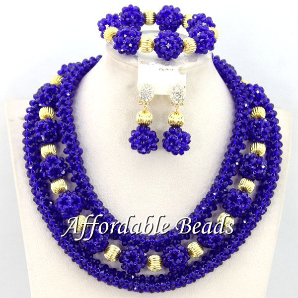 Royal Blue African Necklace Sets Charming Wedding Jewelry Set Popular Style Wholesale Free Shipping BN350 charming embellished blue rhinestone wedding ring