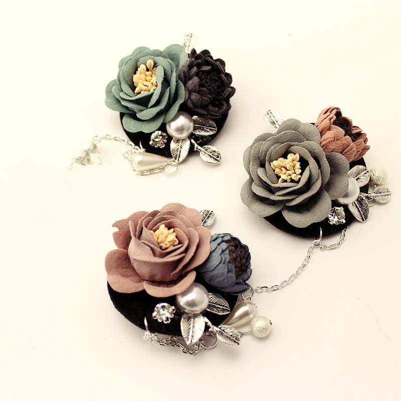 New Fabric Flowers Brooches Alloy Leaf Simulated-pearl Woman Brooches Long Tassel Suits Clothes Accessories Fashion Jewelry