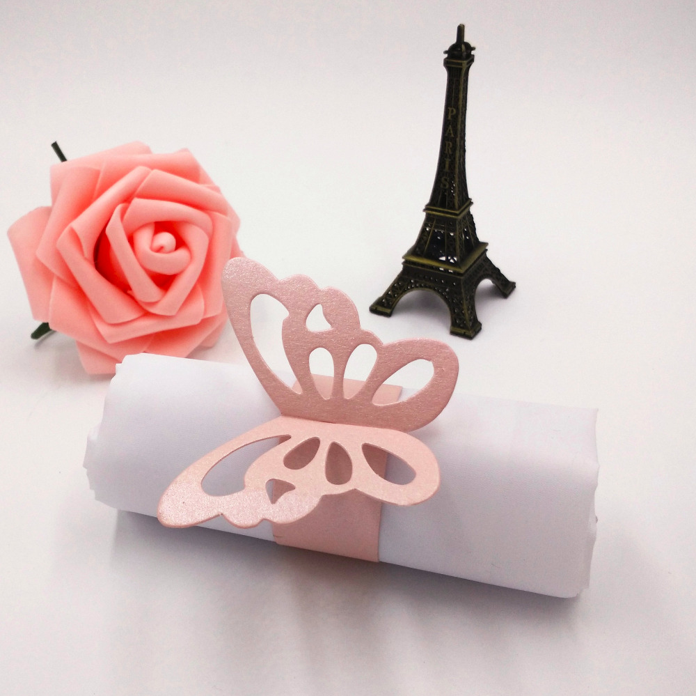 Ctrue 12pcs Metallic Laser Cut Paper Butterfly Napkin Ring Serviette ...
