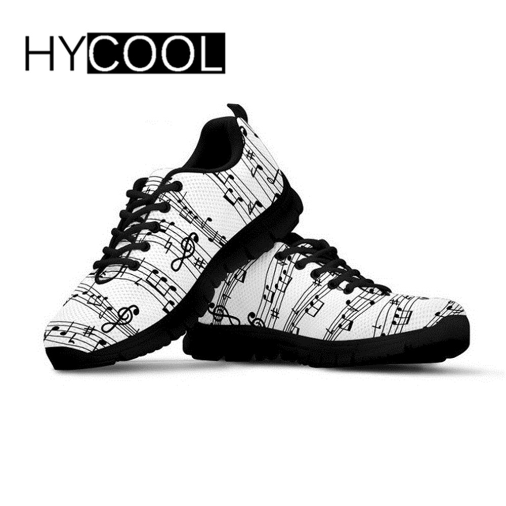 HYCOOL Sneakers For Women Training Music Notes Pattern Female Sports Shoes For Outdoor Running Chaussure Femme Breath Euro 35-45