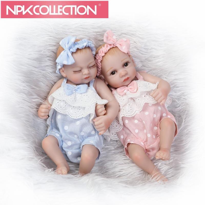 Mini Reborn Asleep girl + Awake girl Dolls 11 Inch Full Silicone Vinyl Can Bathe Baby Dolls with Clothes Kids Gift N117-8