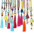 EManco boho многоцветный бисер кисточкой ожерелья для женщин 2016 новый ручной работы из бисера этнических кулон длинное ожерелье