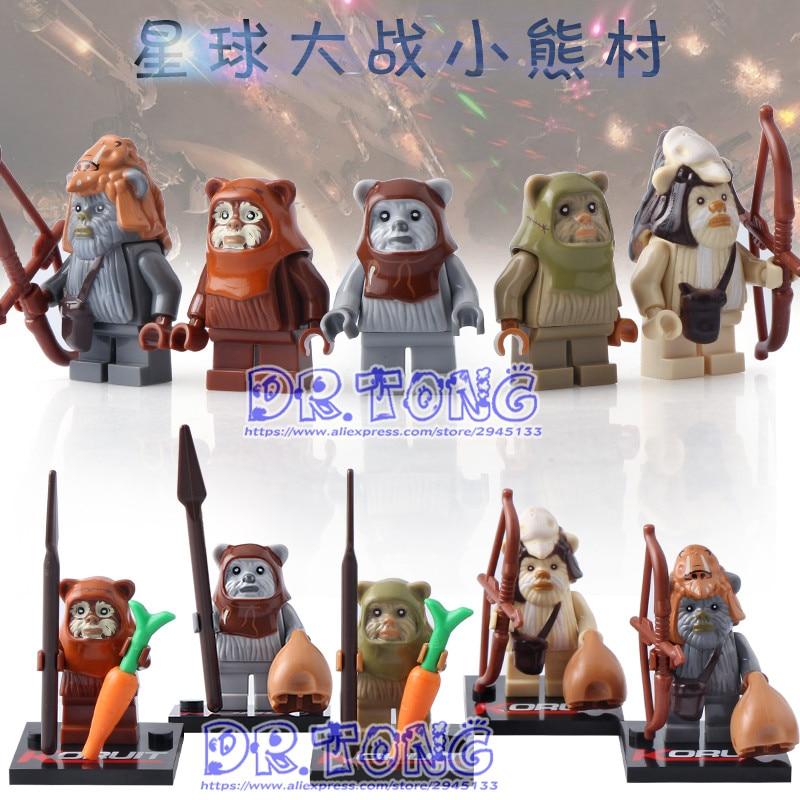 DR.TONG 5PCS/LOT STAR WARS Ewok Teebo Wicket Tokkat Paploo Battle of Endor Bricks Building Blocks Toys Children Gifts