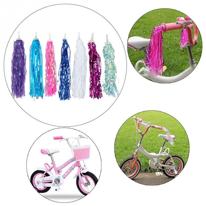2pcs Colorful Bike Bicycle Kids Girls Bicycle Bike Streamers Tricycle Handlebar Grips Tassels