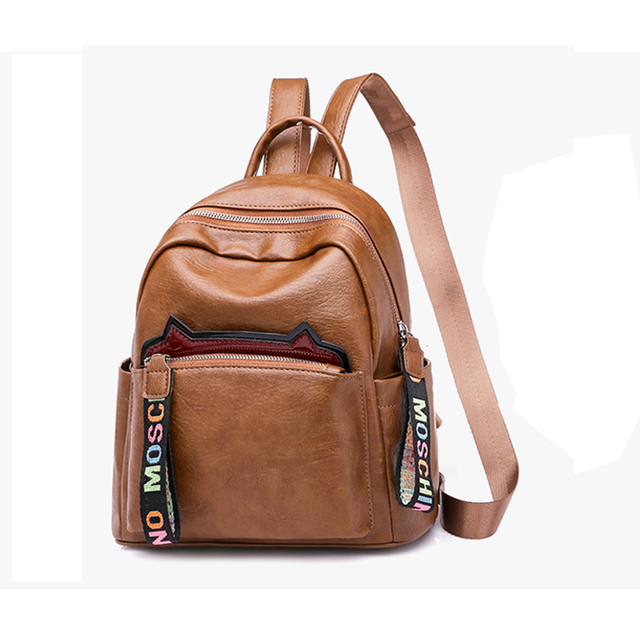 d2564a737a9 US $18.52 30% OFF|Aliexpress.com : Buy Women Backpack Purse PU Leather  Simple Design Casual Daypack Fashion School Backpack for Girls Brown/Black  from ...