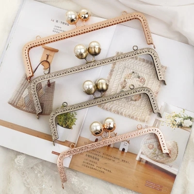 Five Pieces Big Pearl Ball Clasp Metal Purse Frame Sewing Purse Bag Handle Obag DIY Handbag Accessories Hanger New  Purse Frame