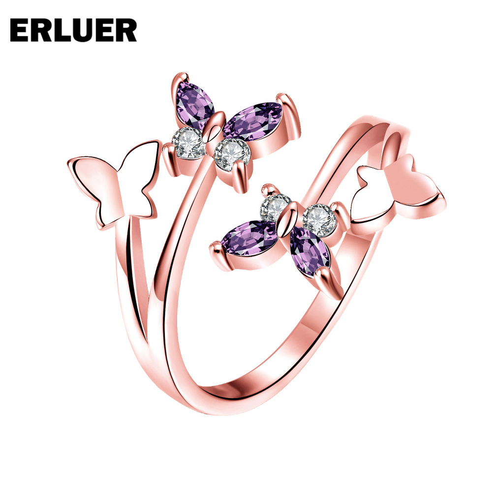 ERLUER Fashion Resizable Ring voor vrouwen Crystal CZ Zirkoon Butterfly Charm Wedding Bridal Party Rose goud kleur zilveren ringen Anel