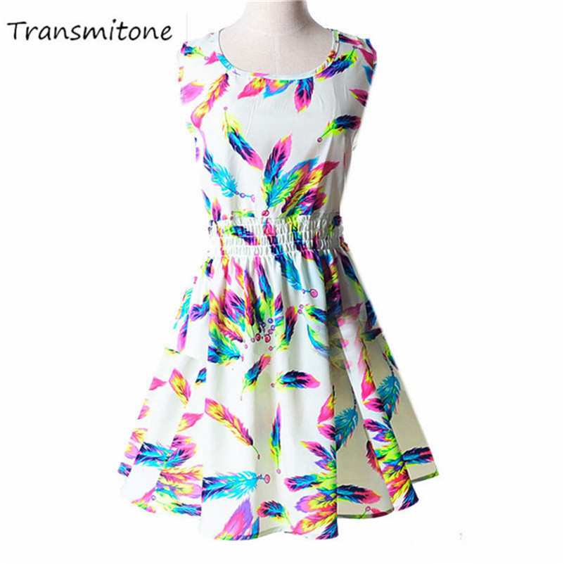 Woman Beach Dress Summer Boho Print Clothes Sleeveless Party Dress Casual Short Sundress Floral Dress Peacock Feathers Dresses