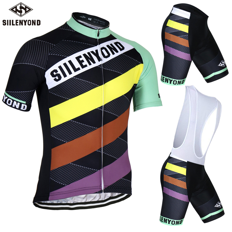 ФОТО SIILENYOND Shelbey 100% Polyester Cycling Jersey Bicycle Clothing Short Sleeve Maillot Ropa Ciclismo Mountain Bike Clothes Set
