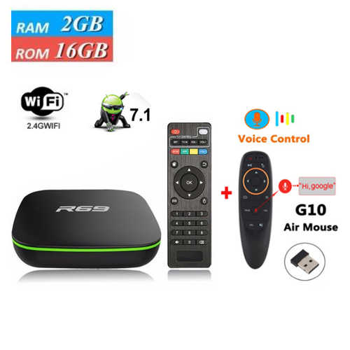 R69 Android 7,1 4k TV BoxR69 2GB 16GB Allwinner H3 Quad-Core 2,4 GHz WiFi 1G 8G Set Top Box 1080P reproductor multimedia