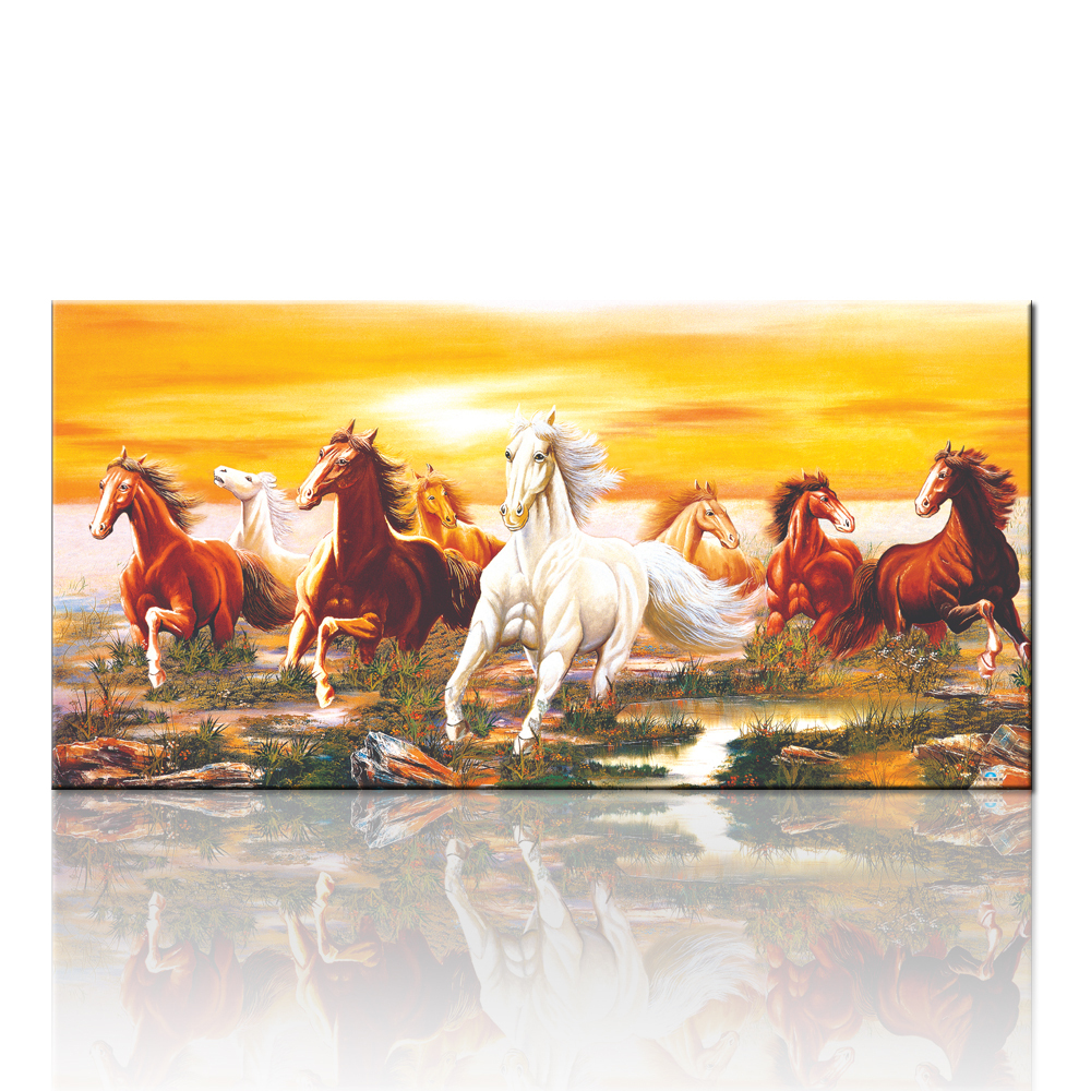 FREE SHIPPING High Quality Group Horse Canvas Painting Art For Wall ...