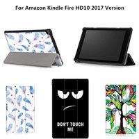 Fashion Case For Amazon Fire HD 10 2017 Case PU Slim Light Magnet Smart Sleep Wake