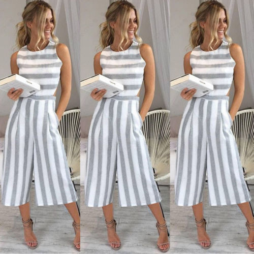 d9b04ab16849 Women Sleeveless Striped Jumpsuit Romper Casual Clubwear Wide Leg Pants  Outfits