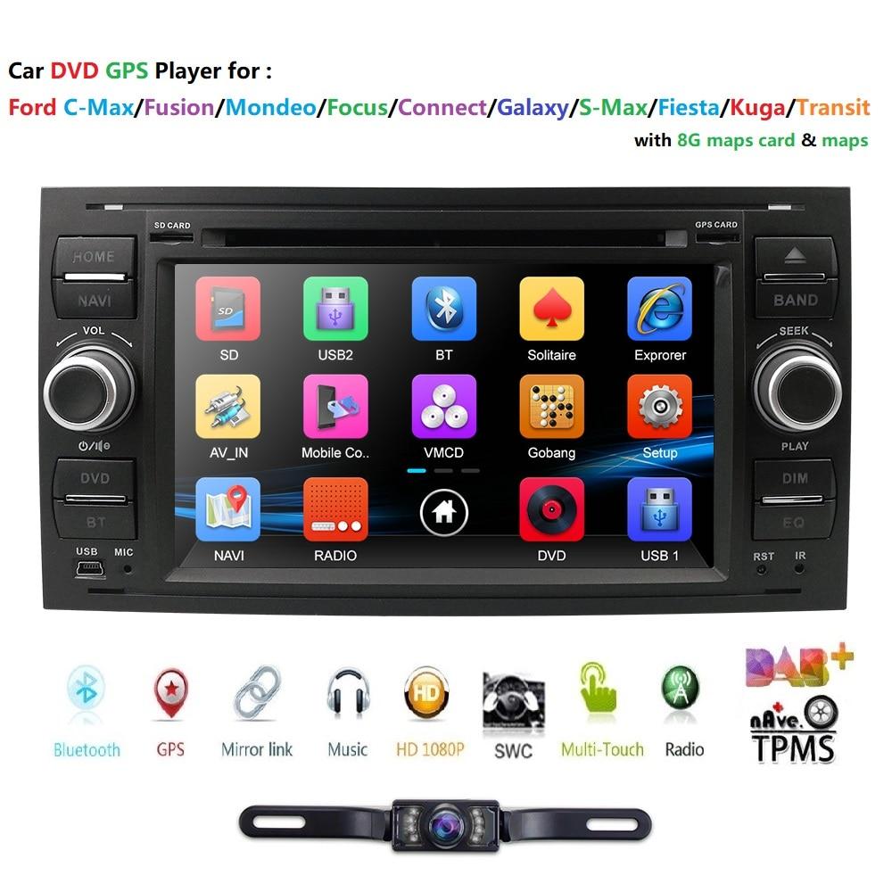 Ossuret 2 Din 7 pouces écran tactile lecteur DVD de voiture 1080P pour Ford/Focus/Mondeo/Transit/C-MAX/Fiest GPS Navigation Ipod FM/AM carte