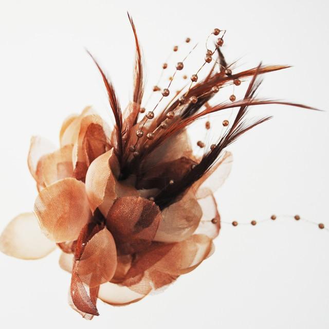 Мм 100x160 мм коричневый цветок волос булавки перо ткань заколка женщина вечернее деко