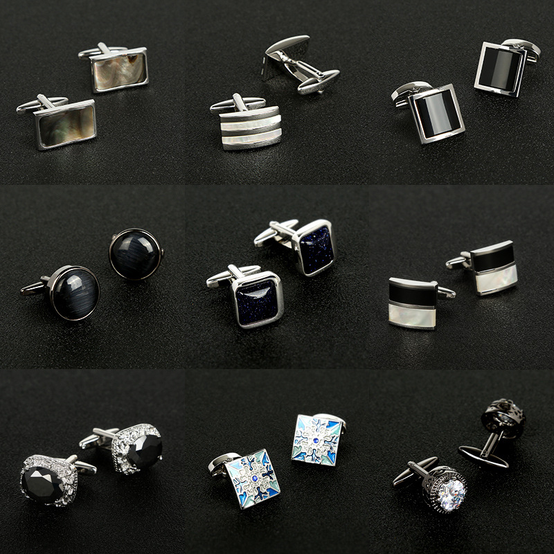 New Mens Shirt Cufflinks Elegant Shirt Cuff Nail Fashion Shirt Mental Geometric Nail Buckle DaEVGX020