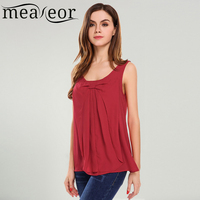 Meaneor Women Casual O Neck Solid Front Pleated Bow Chiffon Tank Top