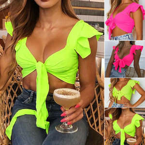 Shirt Vest Blouse Bandage Crop-Tops Button-Tank Sexy Casual Women Solid Sleeveless