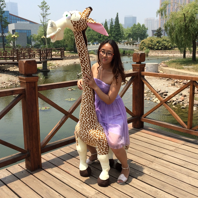 huge 180cm Madagascar giraffe doll, lovely giraffe plush toy,home decoration , surprised Christmas gift birthday gift h2955 lovely giant panda about 70cm plush toy t shirt dress panda doll soft throw pillow christmas birthday gift x023