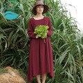 LinenAll женщины осень/зима красное платье платье, оригинальный дизайн старинные белье + хлопок добби пуловер длинное платье халат женский Sishan