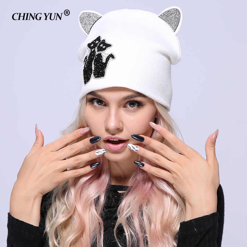 Mới Mùa Đông Nữ Dệt Kim Nón Nữ Ấm Áp Viên Kim Cương Mèo Kitty Tai Chắc Chắn Dày Hơn Bé Gái Nón Dễ Thương Quàng Nam Len Cao Cấp nón Lưỡi Trai 2018